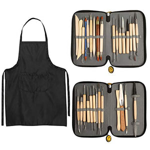 Blisstime Set of 30 Clay Sculpting Tool Wooden Handle Pottery Carving Tool Kit Carrying Case Apron - His Perfect Gifts