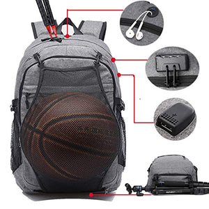 Laptop Sports Backpack, Durable Outdoor Travel Bag Basketball Backpack - Soccer Backpack with USB Charging Port, Water Resistant College School Backpack for Women/Men, Fits 15.6 inch Laptop & Notebook - His Perfect Gifts