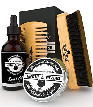 Beard Brush, Comb, Balm, Oil Grooming And Conditioner Beard Care For Men - Best Facial Hair Combo For Home And Travel - Ideal For Dry Or Wet And All Sizes & Beards Style - His Perfect Gifts