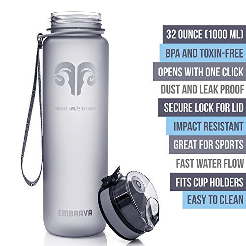 Embrava Best Sports Water Bottle - 32oz Large - Fast Flow, Flip Top Leak Proof Lid w/One Click Open - Non-Toxic BPA Free & Eco-Friendly Tritan Co-Polyester Plastic - His Perfect Gifts