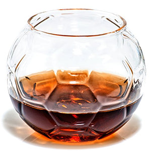 Soccer Whiskey Glass – 10 oz Uniquely Shaped Rocks Glass (other designs available) for Bourbon, Scotch, Brandy - Old Fashioned/Rocks Glasses from Prestige Decanters (Set of Two - Soccer Ball) - His Perfect Gifts