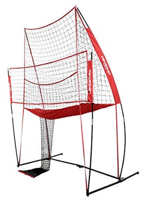 PowerNet Volleyball Practice Net Station | 8 ft Wide by 11 ft High | Ball Return | Great for Hitting and Serving Drills | Perfect for Team or Solo Training | Three Minute Setup | Bow Style Frame - His Perfect Gifts