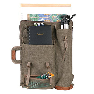 "Transon Art Portfolio Case Artist Backpack Canvas Bag Large 26"" x 19.5"" Khaki Color - His Perfect Gifts"