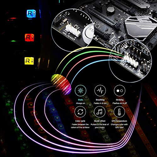 WOWLED RGB Gaming LED Strip Lights Mid Tower PC Case Lighting for Aura Sync and M/B with 4pin RGB Header 5050 SMD 11.8inch per Strips with Magnet Pack of 3 Strips - His Perfect Gifts