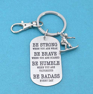 Snowboarding keychain. Snowboarding gifts. Snowboarder gift. Be badass every day. Snowboard charm. - His Perfect Gifts