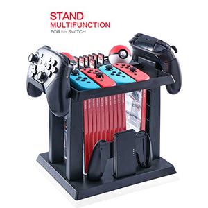 Storage Rack for Nintendo Switch Console Bundle, Storage Station Holder for Nintendo Switch Accessories and 2 Poke Ball Plus Controllers - His Perfect Gifts