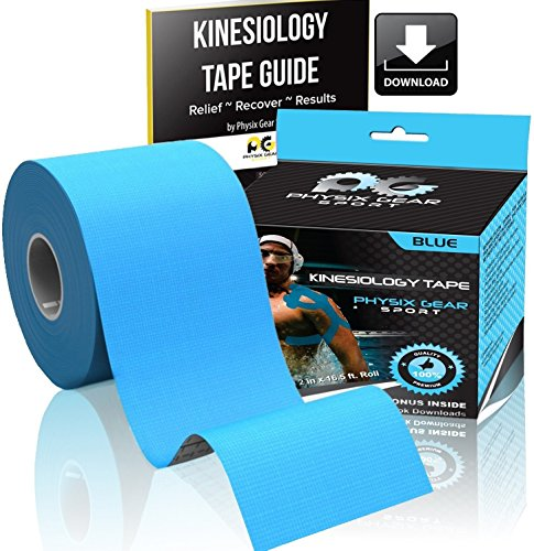 Physix Gear Sport Kinesiology Tape - Free Illustrated E-Guide - 16ft Uncut Roll - Best Pain Relief Adhesive for Muscles, Shin Splints Knee & Shoulder - 24/7 Waterproof Therapeutic Aid (1PK BLU) - His Perfect Gifts