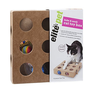Pet Products, Cat Toy Box For Kitty, Kitten, Interactive Indoor Puzzle Box, 3 Balls And A Mouse, 17 Holes, Hide & Seek - His Perfect Gifts