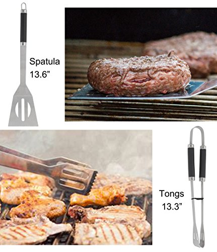 Best Grilling Utensil for Men Women with Meat Thermometer Extra Thick Stainless Steel Barbecue Accessories with Insulated Cooler Bag for Smoker//Camping//Kitchen grilljoy 12PCS BBQ Grill Tools Set
