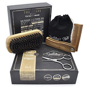 Hair & Beard Comb + Brush + Scissors - Set - for Men, Sandal Wood Comb, 100% Boar Bristle Brush, Best for Grooming Facial and Head Hair, use with Balm, Oil and Wax, Packaged in Premium Giftbox - His Perfect Gifts