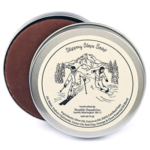 Slippery Slope Soap-100% Natural & Hand Made. Scented with Essential Oils. One 4 oz Bar in a Convenient Travel Gift Tin. Great For Ski Snowboard Lovers. - His Perfect Gifts