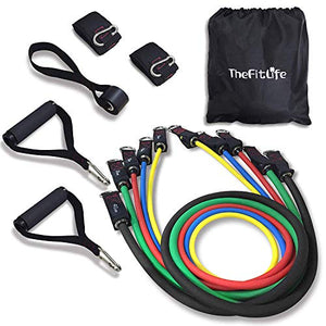 TheFitLife Exercise Resistance Bands with Handles - 5 Fitness Workout Bands Stackable up to 110 lbs, Training Tubes with Large Handles, Ankle Straps, Door Anchor Attachment, Carry Bag and Bonus eBook - His Perfect Gifts