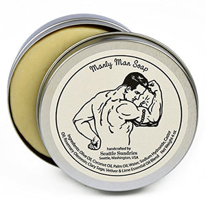 Manly Man Soap-100% Natural Skin Care Bar. Scented with Essential Oils. One 4 oz Bar in a Handy Travel Gift Tin. Great For Men, Guys, Workout, Muscle, Exercise Lovers. - His Perfect Gifts