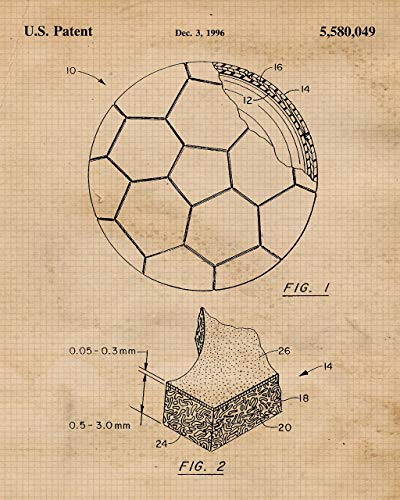 Original Soccer Patent Art Poster Prints - Set of 3 (Three) Photos - 8x10 Unframed - Great Wall Art Decor Gifts for World Cup Players, Fans, Coach, Man Cave, Garage, Boy's Room, School, Gym, Office - His Perfect Gifts