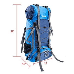 Z ZTDM Bonnlo 60L Hiking Backpack, Inner Frame Backpack, Travel Daypack with Rain Cover, Upgraded, High-Performance Packs, Large Capacity Waterproof, for Outdoor Sports Climbing(Light Blue) - His Perfect Gifts