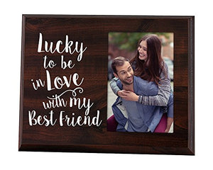 Elegant Signs Lucky to be in Love Romantic Gift Picture Frame for Boyfriend Gift for him Gift for her Wife Gift Girlfriend Gift - His Perfect Gifts