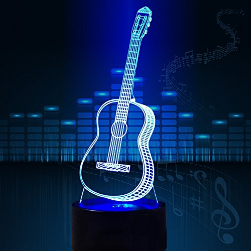 3D Glow LED Night Light Creative Guitar Inspiration 7 Colors Optical Illusion Lamp Touch Sensor Perfect for Home Party Festival Decor Great Gift Idea (Guitar) - His Perfect Gifts