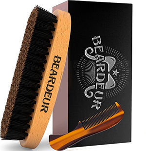 Beard Brush, Best Natural Wooden Hair Brush For Men, 100% Firm Black Wild Boar Bristle, Use with Balm & Beard Oil to Style & Groom, Premium Military Style Palm Brush for Beard Care, Barbers Tool - His Perfect Gifts