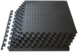 ProSource fs-1908-pzzl Puzzle Exercise Mat EVA Foam Interlocking Tiles (Black, 24 Square Feet) - His Perfect Gifts