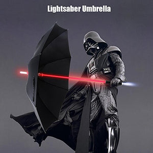 LED Umbrella - Lightsaber Laser Sword Light up Umbrella with 7 Color Changing On the Shaft/Built in Torch at Bottom by Bestkee (Black) - His Perfect Gifts