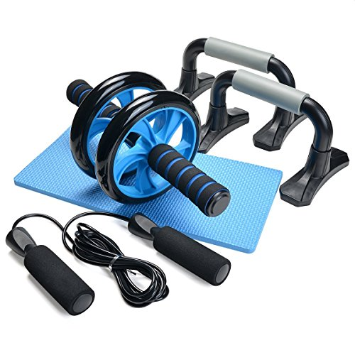 Odoland 3-in-1 AB Wheel Roller Kit AB Roller Pro with Push-Up Bar, Jump Rope and Knee Pad - Perfect Abdominal Core Carver Fitness Workout for Abs - with Workout Guide - His Perfect Gifts