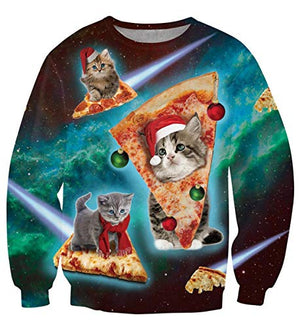 Uideazone Ugly Cat Eat Pizza Shirt Men Christmas Pullover Sweatshirts - His Perfect Gifts
