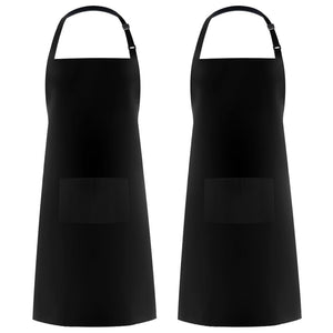 Adjustable Bib Apron Waterdrop Resistant with 2 Pockets Cooking Kitchen Aprons for Chef Black 2 Pack - His Perfect Gifts