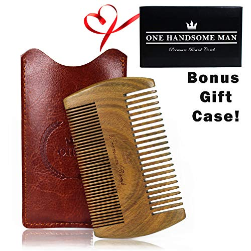 Beard Comb Kit by One Handsome Man - Sandalwood Beard Comb with Leather Travel Pouch and Gift Box - Perfect Gifts For Boyfriend or Valentines Gift For Men - Benefits NONPROFIT Military Vets - His Perfect Gifts