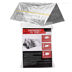 Delmera Mylar Survival Shelter Tent 2 Person Emergency Thermal Tube Tent + Paracord - Ultralight Waterproof Heat Reflective Gear for Hiking, Camping, Outdoor, First Aid Kit or Adventures - His Perfect Gifts