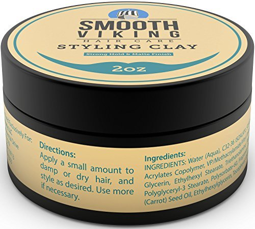 Hair Styling Clay for Men – Pliable Molding Cream with Matte Finish – Product for Textured, Thickened & Modern Hairstyles – Shine Free – 2 OZ – Smooth Viking - His Perfect Gifts