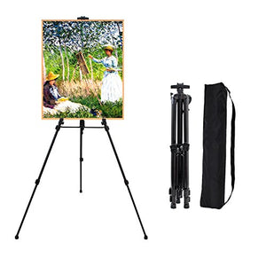 "63"" Art Tripod Painting Easel Stand,Aluminum Floor Easels for Painting with Telescopic Holder,Displaying,Poster,Drawing,Painting,Portable Travel Case (Black),Painting Supplies - His Perfect Gifts"