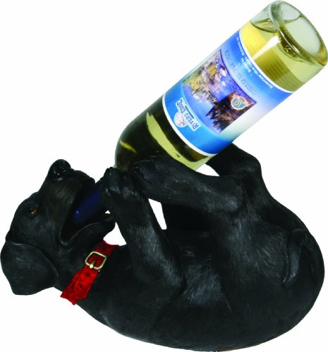 River's Edge Products Hand Painted Poly Resin Black Lab Wine Bottle Holder - His Perfect Gifts