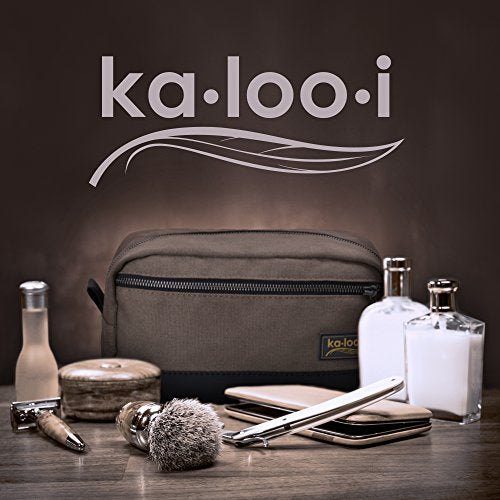 "Toiletry Bag for Men - Canvas Dopp Kit for Travel, Gym, Grooming & Shaving, Waterproof Lining, 10"" x 4.5"" x 5.5"", Olive Green Color with Vegan Leather Trim, Comes in Gift Box by Kalooi - His Perfect Gifts"
