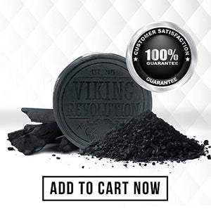 Viking Revolution Activated Charcoal Soap for Men w/Dead Sea Mud – Men's Body and Face Soap – Manly Black Facial Care Soap Bar to Cleanse Blackheads - Peppermint & Eucalyptus Scent - His Perfect Gifts