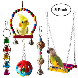 BWOGUE Bird Swing Toys with Bells Pet Parrot Cage Hammock Hanging Toy Perch for Budgie Love Birds Conures Small Parakeet Finches Cockatiels (5 Pack) - His Perfect Gifts