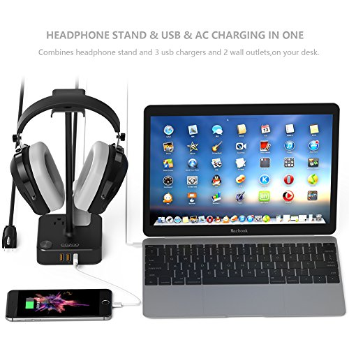 Headphone Stand with USB Charger COZOO Desktop Gaming Headset Holder Hanger with 3 USB Charging Station and 2 Outlets Power Strip - Suitable for Gaming, DJ, Wireless Earphone Display (Black) - His Perfect Gifts