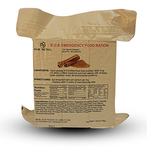 S.O.S. Rations Emergency 3600 Calorie Food Bar (Cinnamon + Coconut, 2 Pack) - His Perfect Gifts
