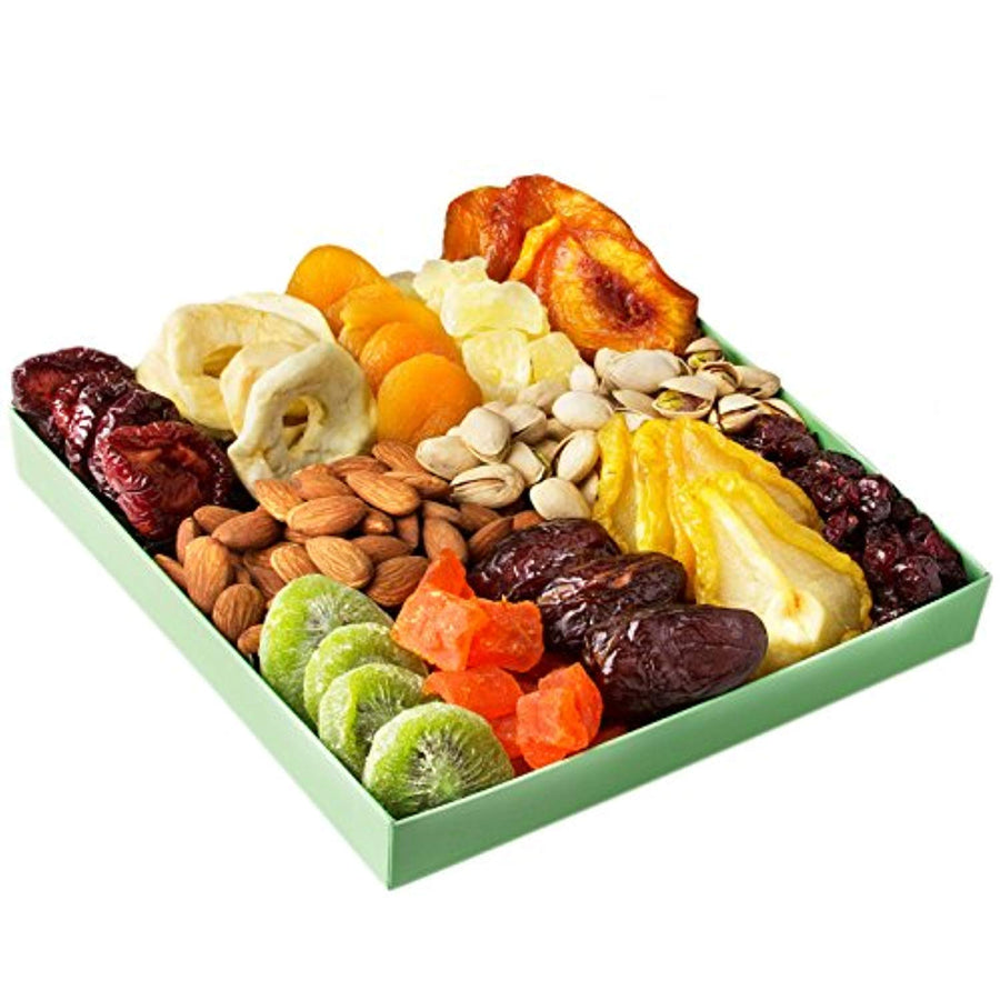 Holiday Nut and Dried Fruit Gift Basket, Healthy Gourmet Snack Christmas Food Box, Great for Birthday, Sympathy, Family Parties & Movie Night or as a Corporate Tray - His Perfect Gifts