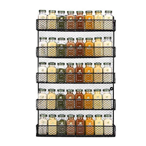 Spice Rack Wall Mounted Spice Rack Organizer Chicken Wire Rural Style Spice Organizer, Spice Rack Wall Mount [5 Tier] (Black) … (5 tier Black Spice Rack) - His Perfect Gifts