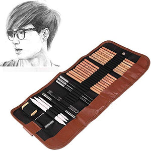 Powstro Sketching Pencil Set,18pcs Pen Charcoal Sketch Set Roll Up Canvas Carry Pouch of Pencils Eraser Craft Knife Pencil Extender 29pcs Total for Beginners Artist - His Perfect Gifts