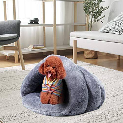 KAIYANG Cat Bed Warm Winter Cat Beds for Indoor Outdoor Cats, Self-Warming Cat Bed, Dog Beds for Small Dogs, Soft Plush Pet Triangle Bed Cave (Grey) - His Perfect Gifts