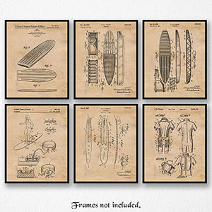 Original Surfboard Patent Art Poster Prints - set of 6 (Six) Unframed Pictures - Great Wall Art Decor Gifts for Surfers - His Perfect Gifts