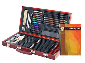 ZagGit Sketching Deluxe Art Box Set - 58 Piece - His Perfect Gifts
