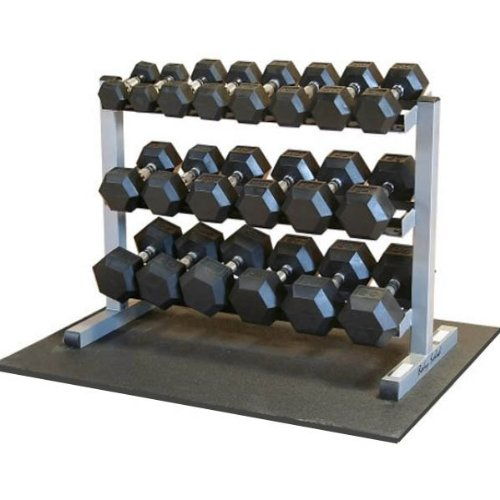 Body-Solid 3-Tier Horizontal Dumbbell Rack with Rubber Hex Dumbbells (GDR363-RFWS) - His Perfect Gifts