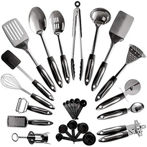 25-Piece Stainless Steel Kitchen Utensil Set | Non-Stick Cooking Gadgets and Tools Kit | Durable Dishwasher-Safe Cookware Set | Kitchenware Gift Idea, Best New Apartment Essentials - His Perfect Gifts