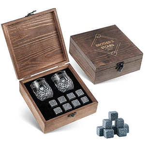 Whiskey Stones Gift Set - 8 Granite Chilling Whisky Rocks – 2 Crystal Shot Glasses in Wooden Box – Premium Bar Accessories for the Best Tasting Beverages by BROTEC - His Perfect Gifts