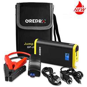 GREPRO Car Jump Starter Kit 500A 9000mAh for 12V Vehicle (up to 4.5L Gas, 2.5L Diesel Engine), Auto Battery Booster with LED Flashlight and LCD Screen, Portable Power Pack with Quick Charge - His Perfect Gifts