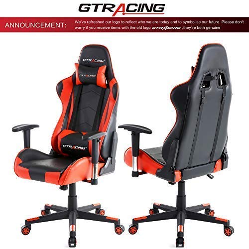 GTRACING Gaming Office Chair Game Racing Ergonomic Backrest and Seat Height Adjustment Computer Chair with Pillows Recliner Swivel Rocker Headrest and Lumbar Tilt E-Sports Chair (Black/Red) - His Perfect Gifts