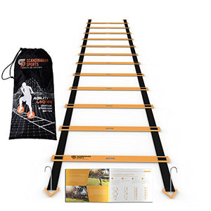 Scandinavian Sports Agility Ladder - 12 Adjustable Rungs 19 Feet - Agility & Speed Training Kit - Quickness Training Equipment for Faster Footwork and Better Movement Skills - His Perfect Gifts