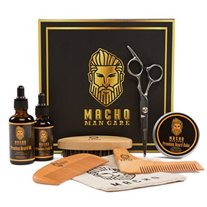 Premium Beard Grooming Kit for Men - Soft Beard Brush, Beard Oil, Beard Comb, Beard Balm, Mustache Scissors, Shaping Tool, Argan Oil - Luxurious Best Mens Trimming and Maintenance Beard Care Gift Set - His Perfect Gifts